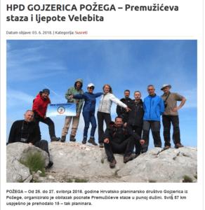 HPD GOJZERICA POŽEGA – Premužićeva staza i ljepote Velebita